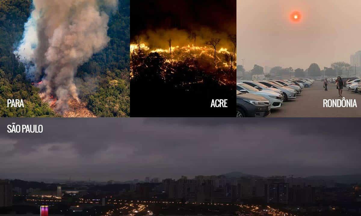 ALERTA GERAL: Amazônia em chamas;  Recorde de queimadas e frente fria fazem dia virar noite em São Paulo